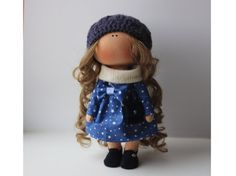 Soft doll tilda doll Art doll handmade brown by AnnKirillartPlace