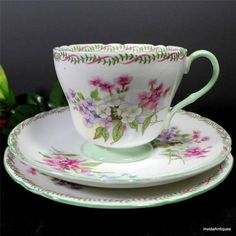 "Lovely Shelley China England Floral Pink Green 6"" Plate Tea Cup Saucer Trio Set"