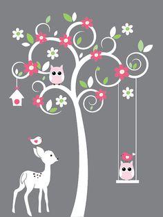 white swirl tree owl,birds, deer wall decal vinyl