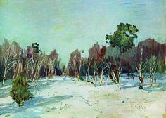 Jardin enneigé., 1885 de Isaac Levitan (1860-1900, Lithuania)