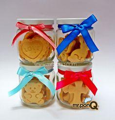 Frasco 12 galleticas mantequilla para c/ocasion. Mr.ponQ