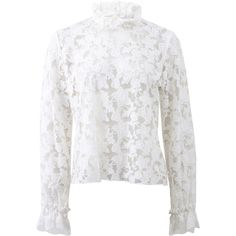 Alexis Meryl Embroidered Lace Top ($305) ❤ liked on Polyvore featuring tops, blouses, loose blouse, see through blouse, lace blouse, white top and white blouse