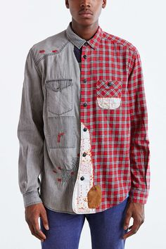 Koto Repaired Patchwork Button-Down Shirt