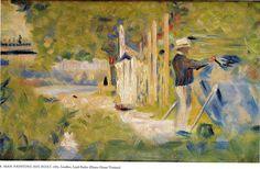 "artist-seurat: "" Man Painting his Boat via Georges Seurat Size: 12.9x21 cm Medium: oil on wood"""