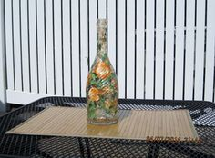 Wine bottle hand  painted with lights by ingeborgsorgent on Etsy, $21.50