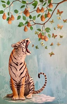 The Pear Tree Oil and Acrylic on Canvas inches Tiger Heather Gauthier - Anthropomorphic Realism Original Paintings Gallery Orange Owsla Wallpaper, Tiger Wallpaper, Painting Gallery, Psychedelic Art, Aesthetic Art, Art Inspo, Art Drawings, Cool Art, Art Projects