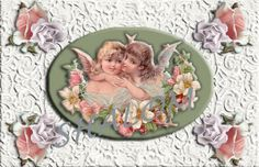 Victorian Shabby Chic Angel on Lace Greeting Card - Digital Printable Download - (blank so you can use it for any occasion) by TreasuresOfJen on Etsy