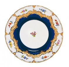 "Plate, Shape ""B-Form"", Strewn flowers, royal blue ground, gold (bronze coloured), light, ø 22 cm"