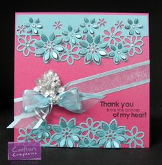 Shimmering Cardstock Coastal Pearl & Rose Pearl Die'sire Edge'ables Collection 'Floral Dance' Angelica & Friends 'Florence' (sentiment) Ribbon Bling Flowers