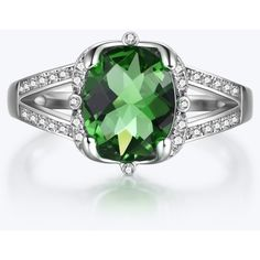 Oval Emerald Engagement Ring (260 SAR) ❤ liked on Polyvore featuring jewelry, rings, engagement rings, emerald ring, oval emerald ring, emerald jewelry and emerald jewellery