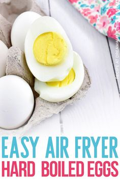These air fryer hard boiled eggs are so quick and easy to make that it will be your go to recipe! These eggs are perfectly cooked with a soft, buttery yolk. Chefman Air Fryer, Air Fryer Recipes Eggs, Air Recipe, Hard Boiled Egg Recipes, Homemade Soap Recipes, Yummy Chicken Recipes, Best Dinner Recipes, Boiled Eggs, Creative Food