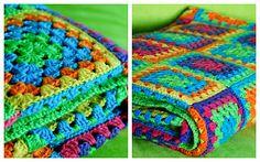 colorful crochet blanket, granny squares