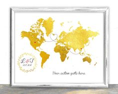 Custom map guestbook map long distance personalized gold map wedding guest book map golden custom map custom map gift custom world map from to in di luzdesign su etsy gumiabroncs Choice Image