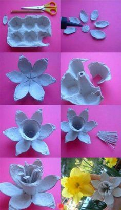 Flower box egg # flower box The post Flower box egg # flower .- Blumenkasten-Ei The post Blumenkasten-Ei appeared first on DIY Projekte. Recycled Crafts, Diy And Crafts, Crafts For Kids, Arts And Crafts, Egg Carton Art, Egg Carton Crafts, Paper Flowers Diy, Flower Crafts, Origami Flowers