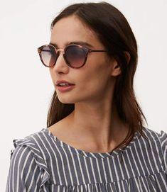 Tortoiseshell Print Metallic Arm Round Sunglasses #sunglasses #womens #summer
