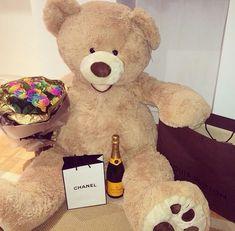 love, chanel, and bear image Large Teddy Bear, Giant Teddy Bear, Cute Teddy Bears, Big Bear, Birthday Goals, Birthday Wishes, Girl Birthday, Costco Bear, Barbie Summer
