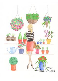 watercolor illustration 11x14, flower art print, fashion illustration, watercolor print, flower illustration, colorful art print,