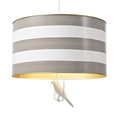 Gray Striped Drum Pendant with Bird - we love this classic drum pendant lamp with a fun twist, an adorable bird on a swing! #PNshop
