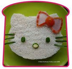 quien no ama a hello kitty ? y mira que bonita y creativa manera de hacer un sanduche para tu hija.