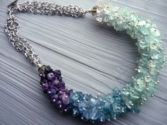 Stone necklace Statement fluorite necklace Stone jewelry Blue green purple necklace Multicolor fluorite jewellery Cluster gemstone necklace - pinned by pin4etsy.com