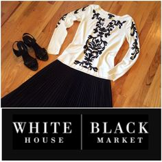 """NWT  WHBM Beautiful Top Oh So Pretty!!!  Can be dressed up or down. The black design has a little """"bling"""" affect. Simply Gorgeous!!!  Priced to sell!!! White House Black Market Tops"""