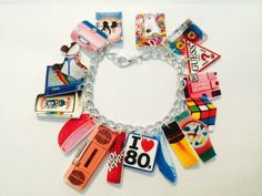 I+Love+The+Eighties+80s+Retro+Throwback+Handmade+Bracelet+Plastic+Charms+