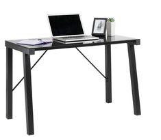 Skrivebord MALVIN glastop sort   JYSK