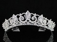 Impressive Clear Austrian Rhinestone Crystal Crown Tiara Hair Comb Bridal H1411 Silver by Tiara -- Awesome products selected by Anna Churchill