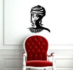 AFRO WOMAN LADY PEOPLE WALL VINYL STICKER  DECALS ART MURAL D2107 #MuralArtDecals