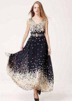 Summer V Neck Sleeveless Maxi Dress with Sakura Print
