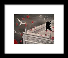 Framed Print, painting, tango,dance,silhouettes,figures,couple,lovers,romance,erotic,sensual,passion,graceful,style,pose,movement,action,motion,energy,magical,mystery,mystical,dreamy,whimsical,fantasy,night,nocturnal,midnight,summer,medieval,building,architectural,valentine,roses,terrace,veranda,candles,moonlight,classic,surreal,grey,red,in,on,of,the,fine,art,oil,artworks,images,decor,artistic,items,products,for sale,fine art america,tango night
