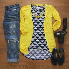 Lularoe Flat Fashion Style Idea - #flatlays #flatlay #lularoe #lularoeflatlay black and white triangle #unicorn Irma, destroyed boyfriend jeans, yellow cardigan, Toms classics #lularoeflats styling Facebook: Lularoe Krissy Spangler