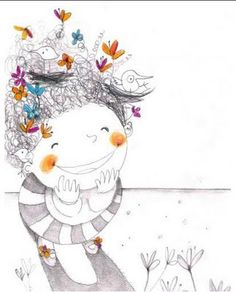by Francesca Quatraro Art And Illustration, People Illustration, Little Girl Illustrations, Illustrations Posters, Whimsical Art, Doodle Art, Cute Art, Artsy, Sketches