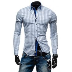 Pánske kockované košele s dlhým rukávom - fashionday.eu Shirt Dress, Blazer, Mens Tops, Jackets, Shirts, Dresses, Fashion, Down Jackets, Vestidos