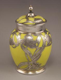 Belleek Porcelain with Alvin Silver Overlay,  circa 1900
