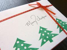 Christmas Trees, holiday greeting card, handmade festive