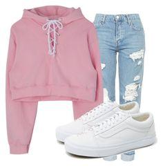 Buzo rosa, jean con roturas, zapatillas blancas ☾✧