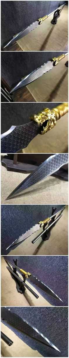 Spearhead Material:High manganese steel,The surface etching pattern; Overall Length: 78 inch/200 cm;Spearhead Length:13 inch/35 cm; Fitting Material:Alloy;Weight (with Scabbard):6.6 lbs3 kg(approximately) Rod:Stainless steel,Divided into two sections. Condition:Brand New;origin:China zhejiang longquan.Packing:Bag+foam box.no wood stand.