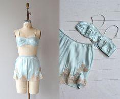 Eau-De-Nil lingerie set  vintage 1930s bra and tap by DearGolden