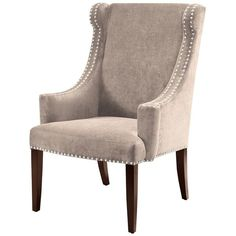 Madison Park Marcel High Back Wing Chair, Grey found on Polyvore featuring polyvore, home, furniture, chairs, accent chairs, grey, nailhead accent chair, grey chair, tall back chairs and gray chair