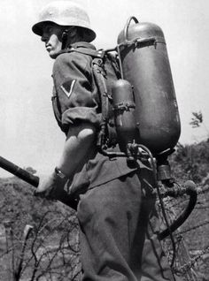 German soldier with a Flammenwerfer 35, or FmW 35, the standard issue flamethrower during the early phase of WW2.