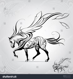 Discover over 100 million Stock Photos and Illustrations Stock Photos , photo store , video stock , Illustrations. Pegasus walking against the wind,vector illustration Painted Horses, Horse Drawings, Art Drawings, Pegasus Tattoo, Horse Tattoo Design, Tribal Horse Tattoo, Horse Tattoos, Arte Equina, Equine Art