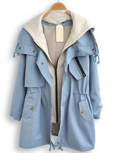 Light Blue Hooded Long Sleeve Pockets Trench Coat pictures Fashion expresses modify in its many Girls Fashion Clothes, Teen Fashion Outfits, Punk Fashion, Lolita Fashion, Fashion Men, Fashion Boots, Fashion Dresses, Cute Casual Outfits, Stylish Outfits