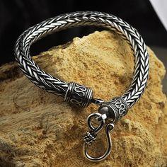 Men's Sterling Silver Wide Wheat Chain Bracelet