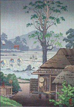 Rice Planting in Taue by Tsuchiya Koitusu (ca 1930). Basho says; The beginning of all art --/ In the deep north/ A rice planting song.