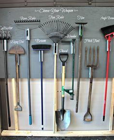 7 Respected Simple Ideas: Garden Tool Sheds Tips garden tool hanger home.Garden Tool Sheds Tiny House garden tool shed shelves. Outdoor Tools, Outdoor Tool Storage, Garage Tool Storage, Garage Tools, Yard Tool Storage Ideas, Garage Hanging Storage, Garage Storage Solutions, Lumber Storage, Garage Shop