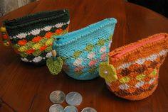♥ crochet coin purses