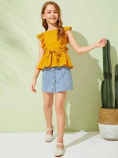 To find out about the Girls Ruffle Trim Belted Peplum Blouse at SHEIN, part of our latest Girls Blouses ready to shop online today! Girls Fashion Clothes, Tween Fashion, Teen Fashion Outfits, Kids Outfits, Girl Fashion, Fashion Dresses, Kids Dress Wear, Dresses Kids Girl, Cute Dresses