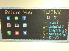 THINK bulletin board.Great for a Middle School Hallway.:-) Perfect also for a middle school classroom! Counseling Bulletin Boards, Classroom Bulletin Boards, School Classroom, Classroom Ideas, Counseling Activities, Classroom Inspiration, Science Classroom, Future Classroom, Ra Bulletins