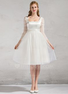 [US$ 159.99] A-Line/Princess Square Neckline Knee-Length Satin Tulle Wedding Dress With Ruffle